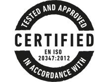 Certified EN ISO 20347:2012